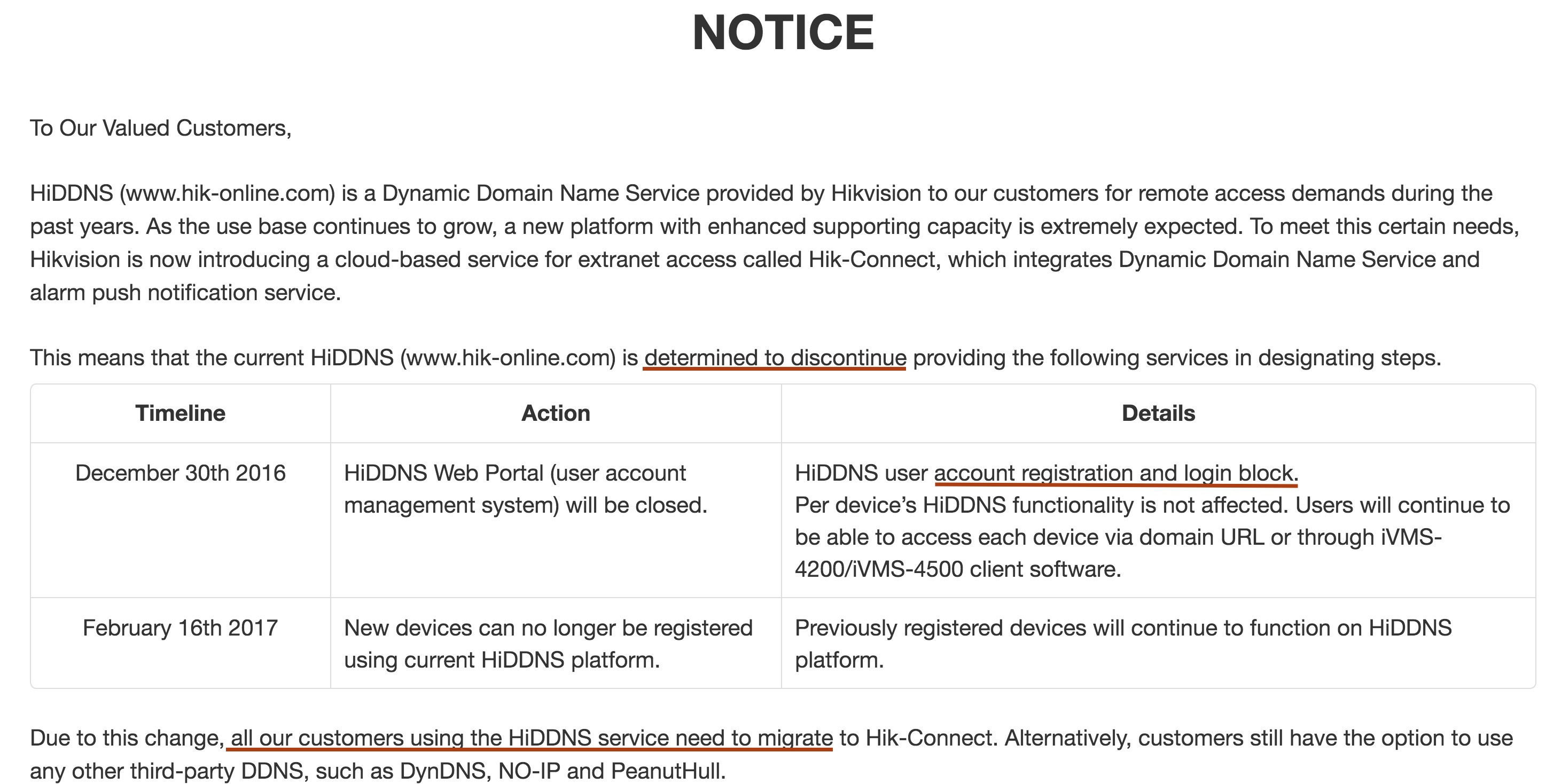 Hikvision Discontinuing Online Service