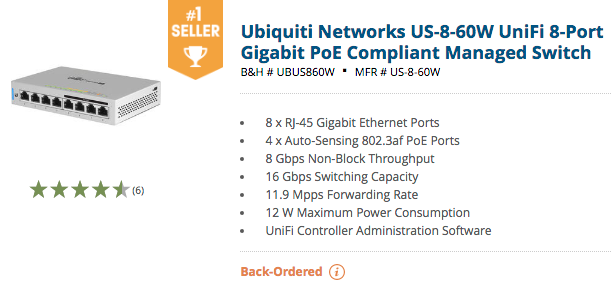 Ubiquiti Unifi Switches: #1 On Amazon, B&H