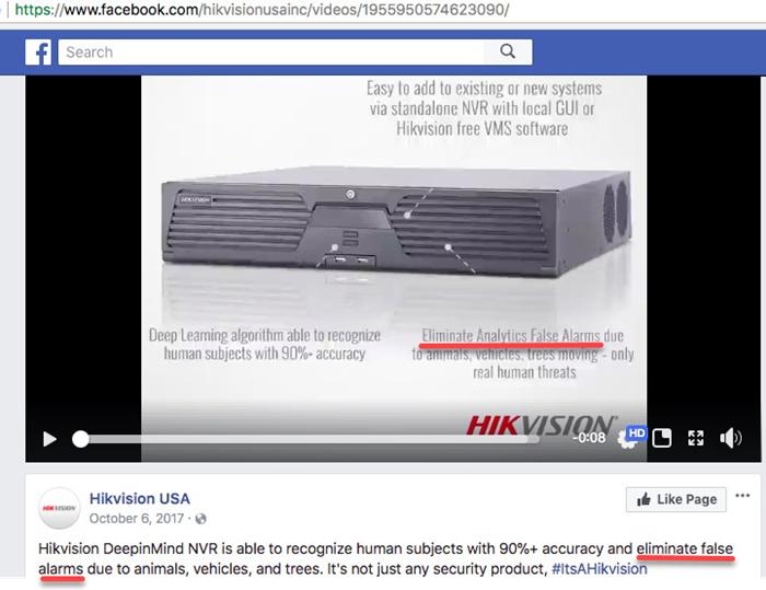 False Advertising: Hikvision USA Deep Learning