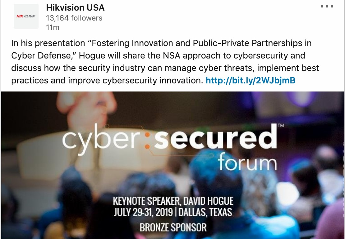 NSA Director Keynoting Dahua and Hikvision Sponsored Cybersecurity