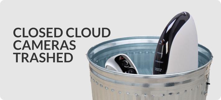 closed cloud cameras in trash