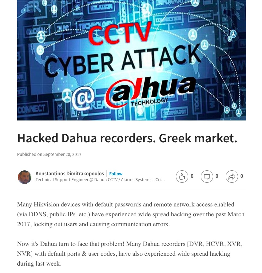 Dahua Recorders Mass Hacked