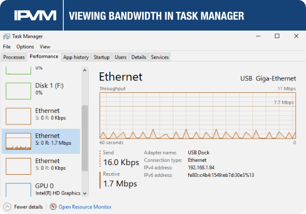 viewing bandwidth in task manager