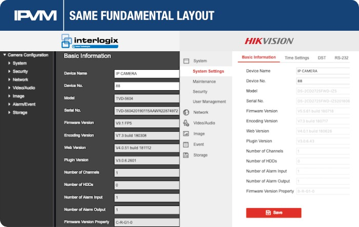 Interlogix Hikvision Web UI And Terminology Similarities