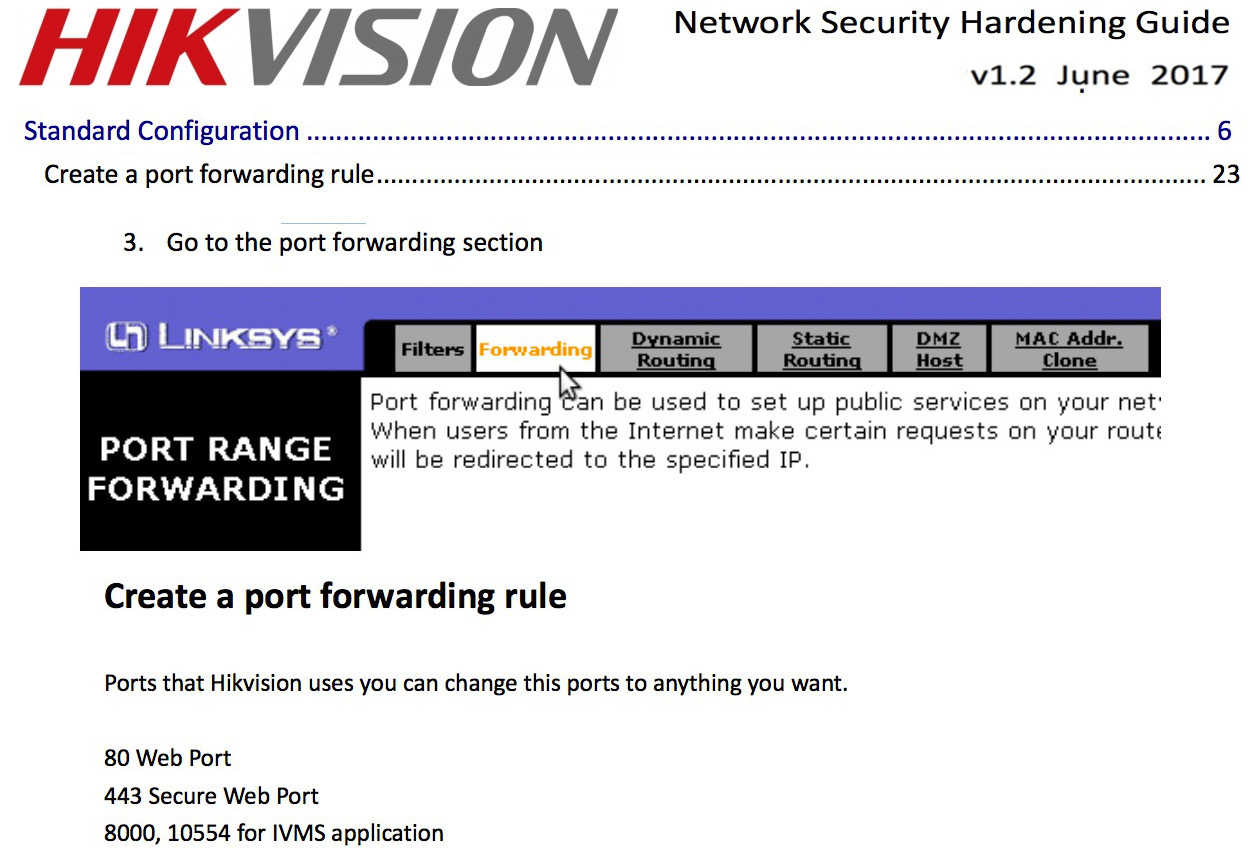 Hikvision Hardening Guide Recommends Port Forwarding